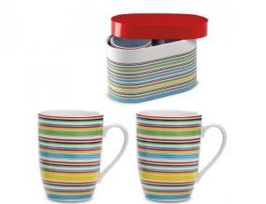 Set de 2 cani din portelan cu design multicolor